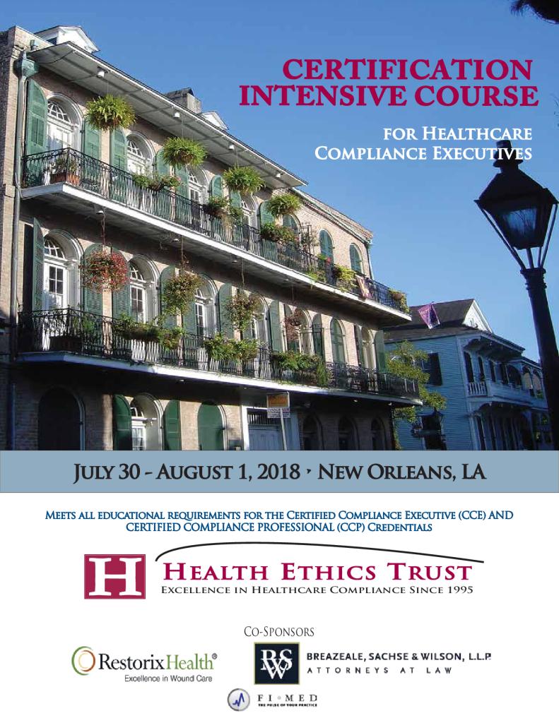 2018 Program Calendar Health Ethics Trust
